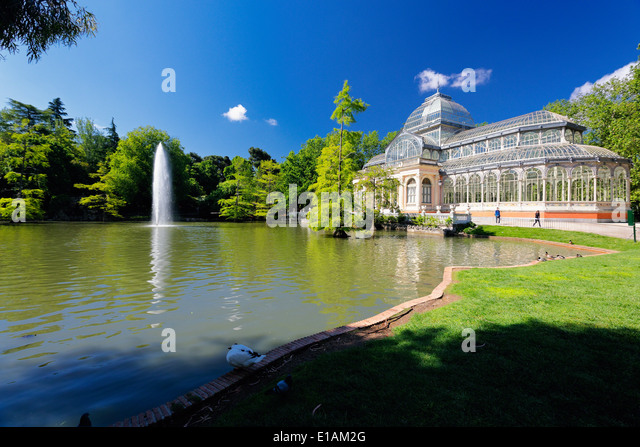 View of the Crystal Palace in the Buen Retiro Park, Madrid Spain - Stock Image