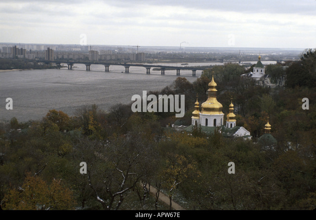 Ukraine Eastern Europe Kiev Dneiper River Orthodox church - Stock Image