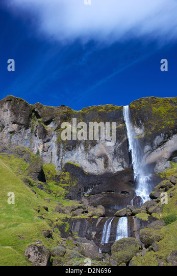 Waterfall in summer sunshine at Foss a Sidu, South coast, Iceland, Polar Regions - Stock Image