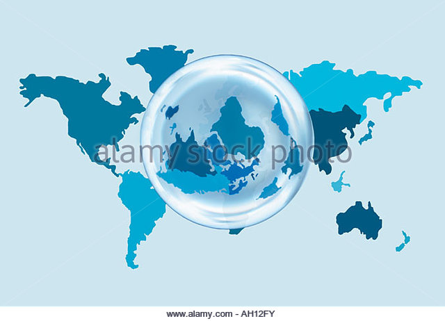 A world map with an overlaying globe - Stock Image