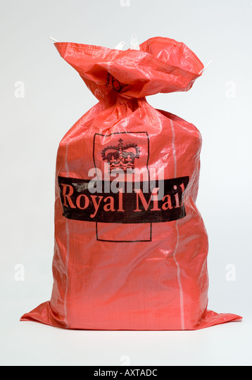 Full Royal Mail red post bag - Stock Image