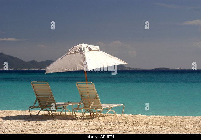 Anguilla Cap Juluca Beach with St Martin in Background - Stock Image