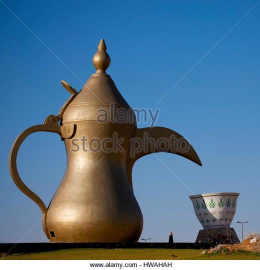 Saudi Arabia, Riyadh Province, Riyadh, Roundabout With A Giant Coffeepot - Stock Image