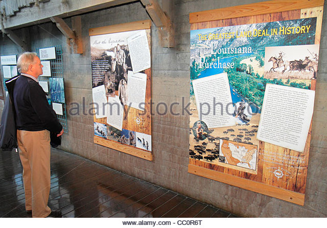 New Orleans Louisiana Woldenberg Riverfront Park Audubon Aquarium of the Americas Mississippi River Gallery interpretive - Stock Image