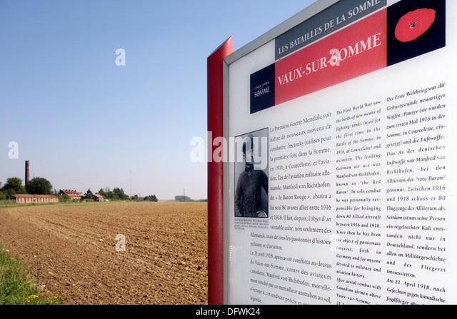 World War One crash site of Red Baron, German WW1 ace fighter pilot Manfred von Richthofen at Vaux-sur-Somme, Somme, - Stock Image