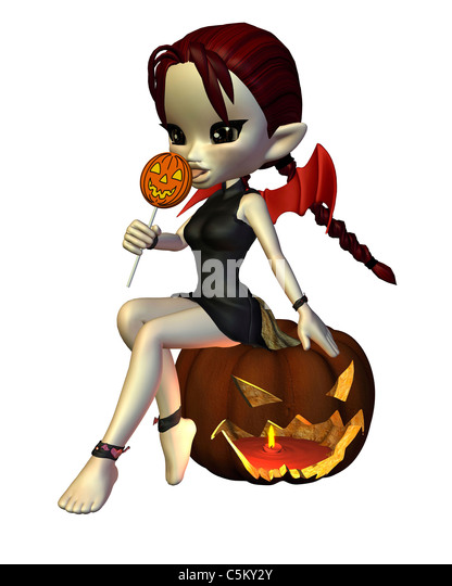 Cute Toon Halloween Devil with Lollipop and Pumpkin - Stock Image