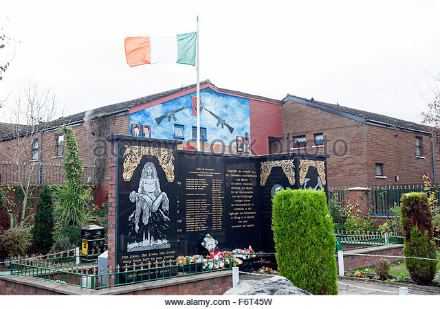 Belfast Northern Ireland Murals in the neighbourhood of the republican (Catholic) Falls Road area.  Garden of remembrance - Stock Image