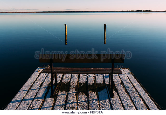 Empty Bench On Pier - Stock Image