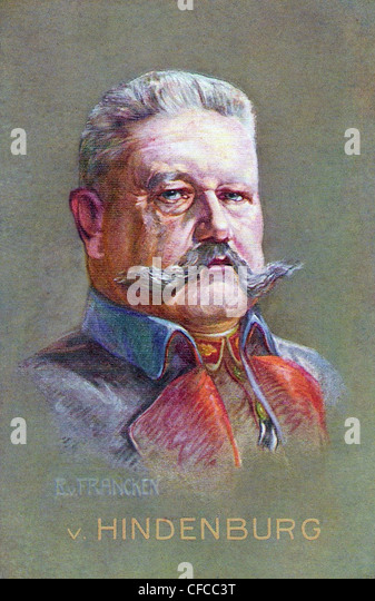 Paul von Hindenburg, Hindenburg, German, Germany, President, Politician, 1912, General, Field Marshal, Illustration, - Stock Image
