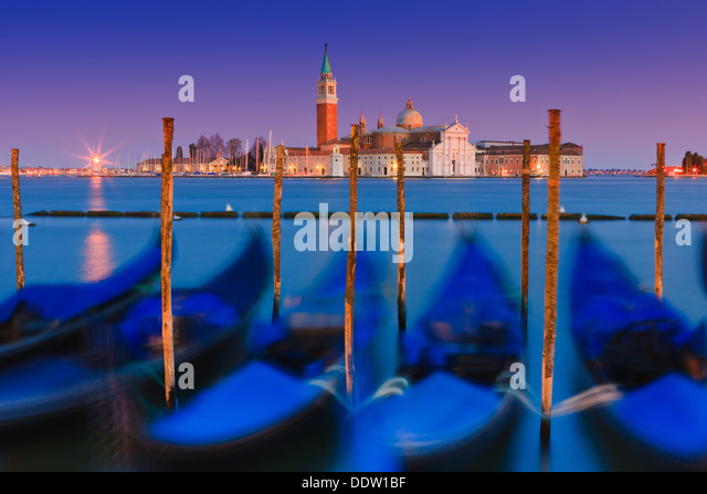 Sunset in Venice with the view from San Marco square - Stock Image