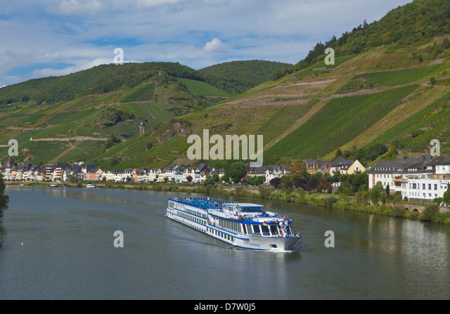 River cruise ship on the Moselle River, Germany - Stock Image