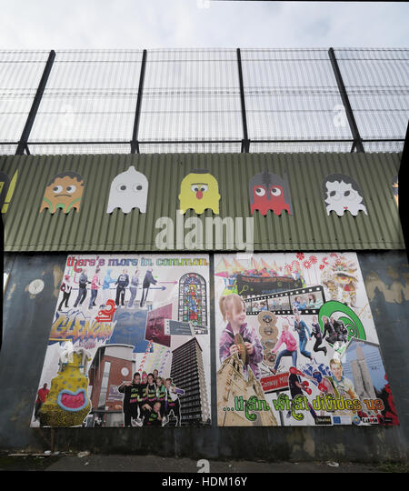 We have more in common... Belfast International Peace Wall,Cupar way,West Belfast,NI,UK - Stock Image