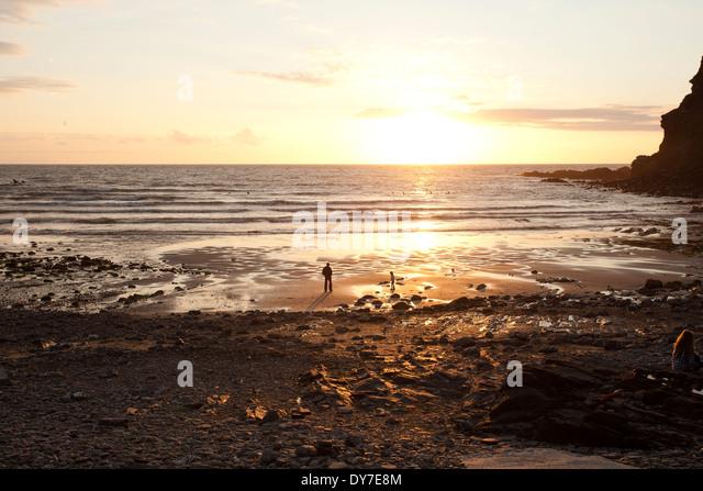 Crackington Haven at Sunset - Stock Image
