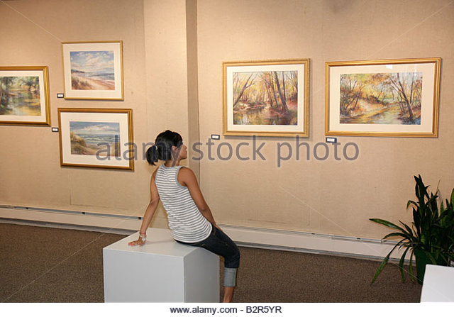 Indiana Chesterton Chesterton Art Center visual art local artists framed paintings mat landscape exhibit gallery - Stock Image