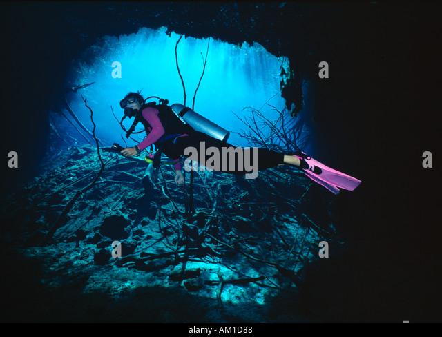 Mexico Yucatan Cenote Cavern diver model released - Stock Image