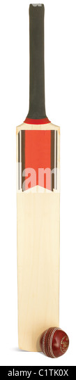 a cricket bat and ball isolated on white with clipping path - Stock Image