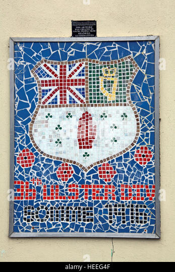 Belfast Unionist, Shankill Ulster Loyalist mosaic mural - Stock Image