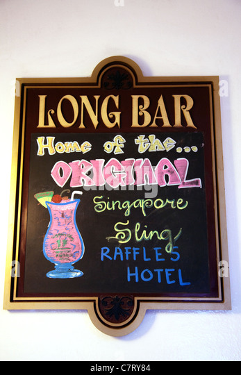 Sing to the Long Bar, Home of the Singapore Sling, Raffles Hotel, Singapore - Stock Image
