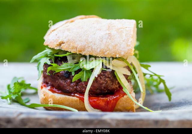 Gourmet beef burger - Stock Image