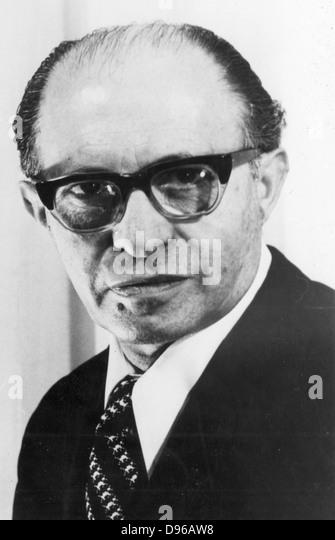 Menachem Begin (1913-1992) Polish-born Israeli statesman; shared Nobel peace prize with Sadat (1973). Photograph - Stock Image