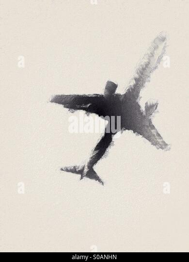 Abstract style illustration of a low flying passenger jet aircraft. - Stock Image