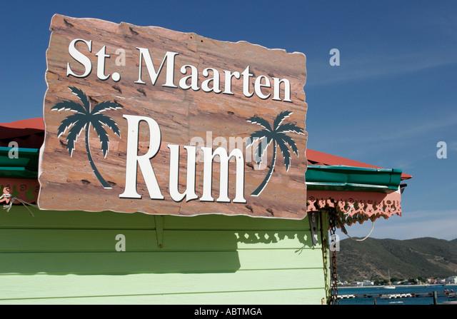 Sint Maarten Great Bay Philipsburg Dutch sign rum - Stock Image
