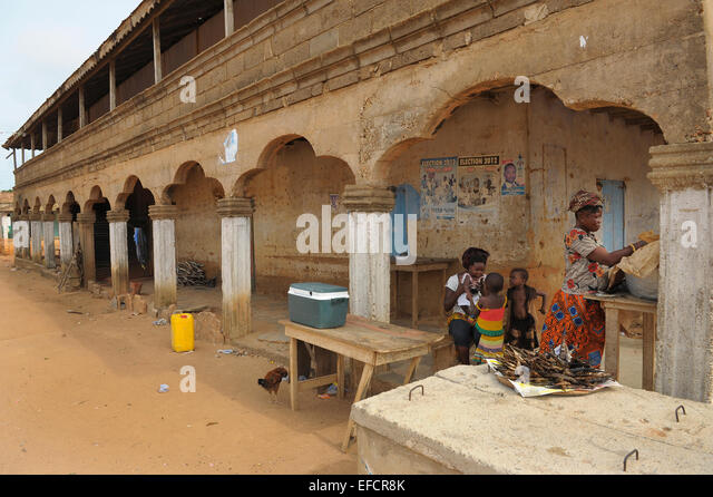 Street view from Kweikrom, Ghana, West Africa. - Stock Image
