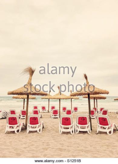 Beach Sunbeds & Parasols, Can Picafort, Majorca, Spain - Stock Image