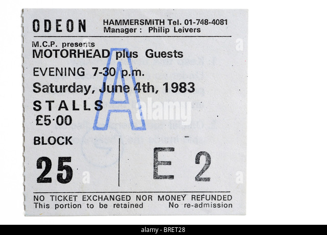 A concert ticket for Motorhead at the legendary Hammersmith Odeon - Stock Image