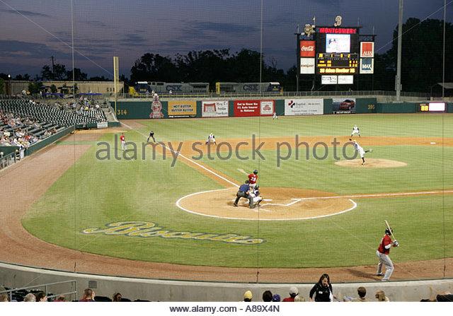 Montgomery Alabama Riverwalk Stadium Biscuit Baseball AA Minor League field game night train - Stock Image