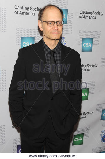 David Hyde Pierce. NEW YORK, NY - January 21: Julianna Margulies, Jeff Daniels, Annaleigh Ashford, David Hyde Pierce, - Stock Image