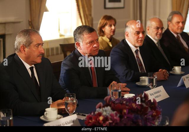 New York, USA. 23rd September, 2014. King Abdullah II of Jordan (2nd L) meets with U.S. President Barack Obama and - Stock Image