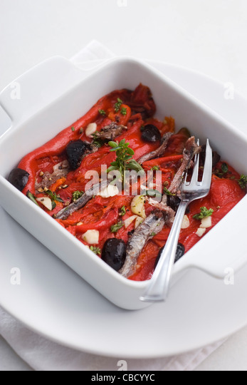 Bell pepper confit - Stock Image