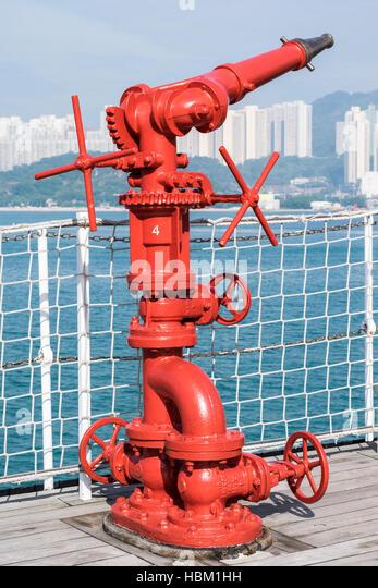 Fireboat monitor (discharge equipment) in Hong Kong - Stock Image