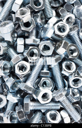 Close up of nuts and bolts - Stock Image