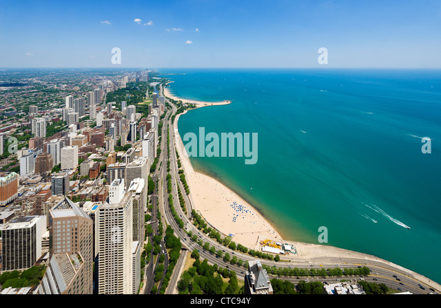 View over Oak Street and North Avenue beaches on Lake Michigan from John Hancock Center, N Michigan Avenue, Chicago, - Stock Image