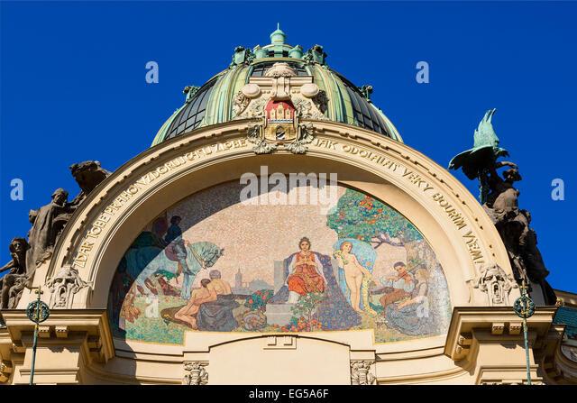 Prague, Art Nouveau Municipal House in Old Town - Stock-Bilder