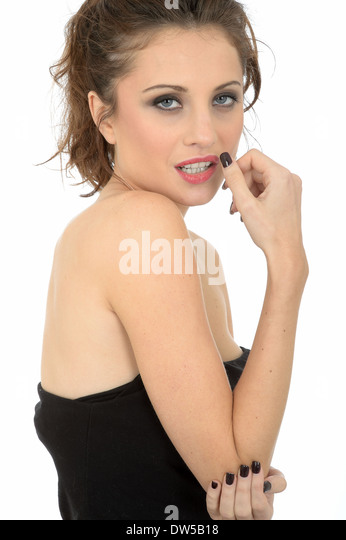 Shy Coy Embarrassed Young Woman - Stock Image