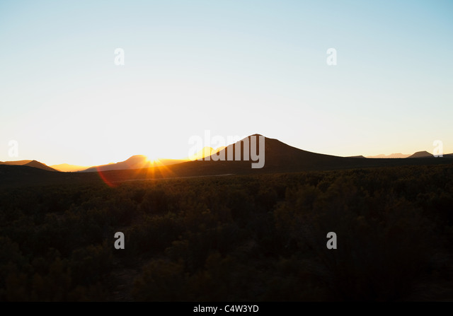Sun over mountains, South Africa - Stock Image