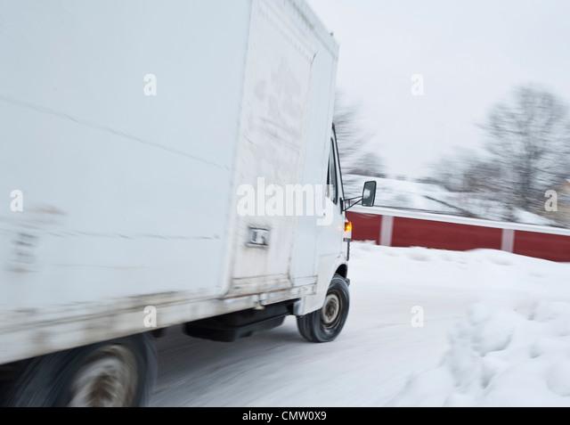 Pickup truck on the go - Stock-Bilder