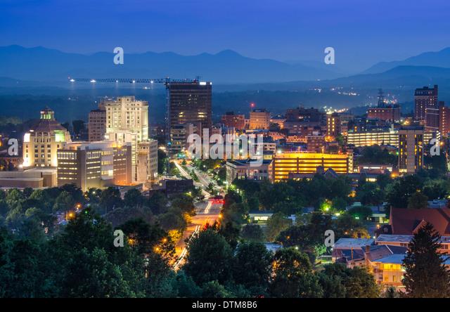 Asheville, North Carolina, USA at twilight. - Stock Image