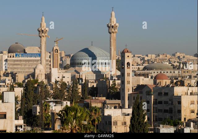 JORDAN, Amman, King I. Abdullah mosque and coptic church / JORDANIEN, Amman, Koenig Abdullah Moschee und koptische - Stock-Bilder