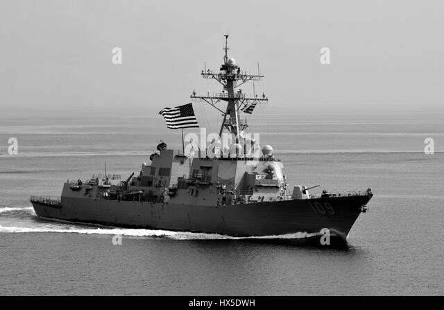 Guided-missile destroyer USS Jason Dunham (DDG 109) on the water in the U.S. 5th Fleet area of responsibility, 2013. - Stock Image
