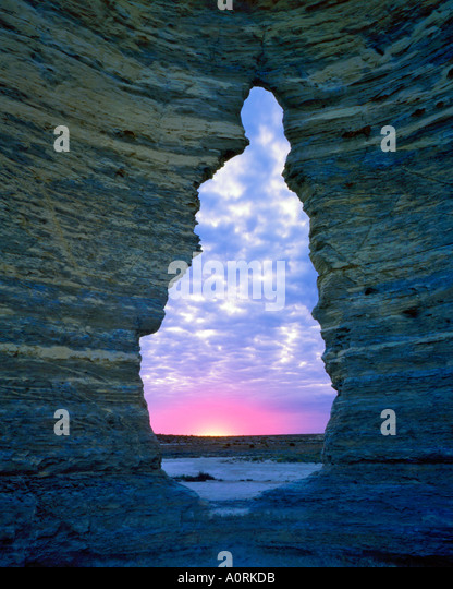 Keyhole Arch at Dawn Chalk Pyramids Gove County Kansas - Stock Image