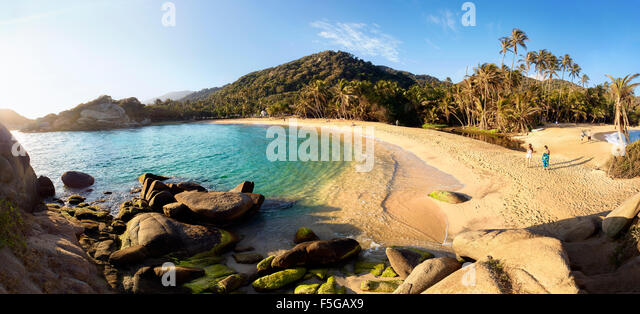 Parque Tayrona, Colombia. National park on the Caribbean coast. Beach El Cabo del San Juan. - Stock Image
