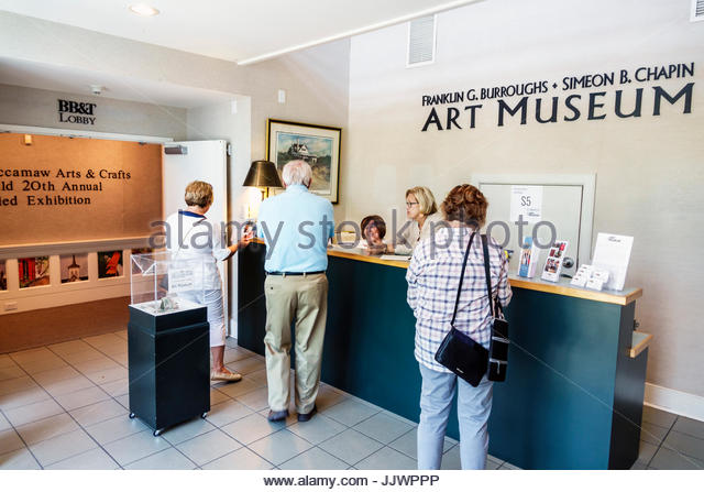 South Carolina SC Myrtle Beach Franklin G. Burroughs-Simeon B. Chapin Art Museum ticket desk - Stock Image