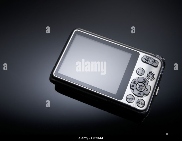 Back of digital point and shoot camera - Stock Image