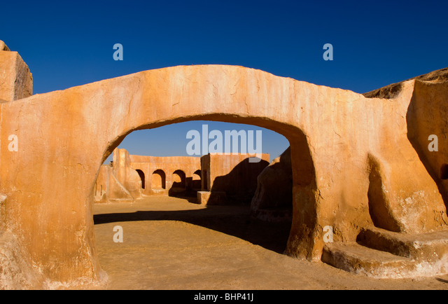 Famous movie set of Star Wars movies in Sahara Desert near Tozeur Tunisia Africa - Stock Image
