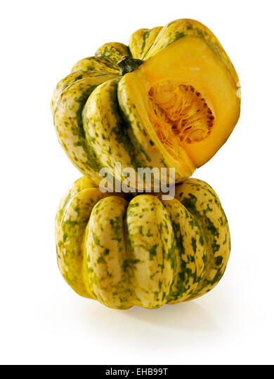Fresh whole and cut Harlequin Squash - Stock Image