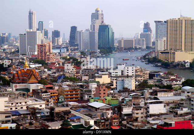 Thailand Bangkok Samphanthawong Chinatown aerial view buildings urban city skyline skyscrapers Chao Phraya River - Stock Image